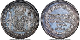 Charles IV silver Real-Sized Mexico City Proclamation Medal 1789 MS65 NGC, Grove-C-13. 20mm. From the Dresden Collection of Hispanic and Brazilian Pro...