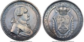 Charles IV silver San Luis Potosi Proclamation Medal 1790 AU58 NGC, Grove-C-176. 42mm. From the Dresden Collection of Hispanic and Brazilian Proclamat...