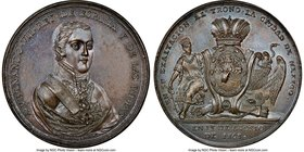 Ferdinand VII bronze Mexico City Proclamation Medal 1808 MS64 Brown NGC, Grove-F-5c. 43mm. From the Dresden Collection of Hispanic and Brazilian Procl...