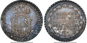 Ferdinand VII silver Mexico City Proclamation Medal 1808 MS63 NGC, Grove-F-15. 22mm. From the Dresden Collection of Hispanic and Brazilian Proclamatio...