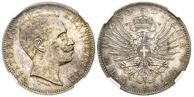 "Vittorio Emanuele III 1900-1943 5 Lire, Roma, 1901, AG 25 g. Ref : MIR 1134a (R4), Pag. 706 ""Moneta non emessa"" Conservation : NGC MS63+. Rarissime. L..."