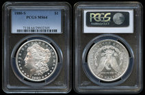 United States. 1 dollar. 1880. San Francisco. S. (Km-110). Ag. Slabbed by PCGS as MS 64. Est...150,00.