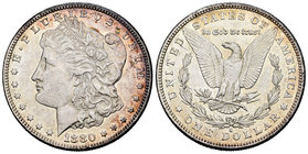United States. 1 dollar. 1880. San Francisco. S. (Km-110). Ag. 26,63 g. Minor contact marks. Almost XF. Est...35,00.