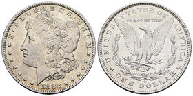 United States. 1 dollar. 1882. Philadelphia. (Km-110). Ag. 26,67 g. Minor nicks on edge. Almost XF. Est...30,00.