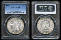 United States. 1 dollar. 1885. New Orleans. O. (Km-110). Ag. Slabbed by PCGS as MS 64. Est...175,00.