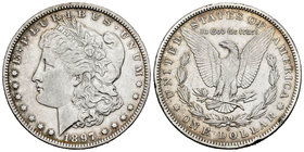 United States. 1 dollar. 1897. New Orleans. O. (Km-110). Ag. 26,62 g. Edge nicks. Choice VF. Est...25,00.