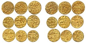 A collection of 9 gold Mohurs from different rulers. 