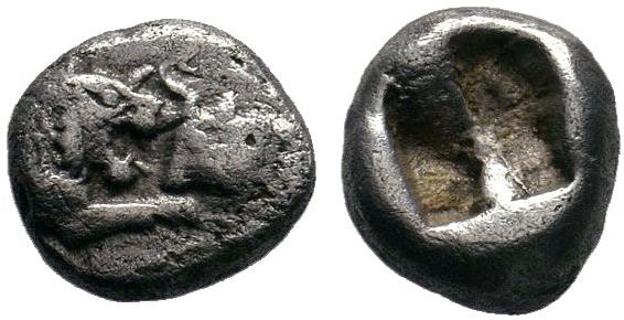 LYDIA, Kings of. Time of Kroisos. Circa 561-546 BC. AR Confronted foreparts of a...