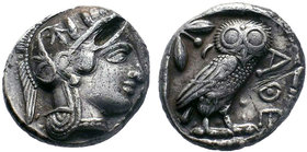 ATTICA, Athens. Circa 454-404 BC. AR Tetradrachm. Helmeted head of Athena right, with frontal eye / Owl standing right, head facing, closed tail feath...