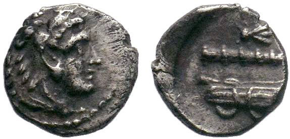 Macedonian Kingdom.Alexander III, obol, after 333 BC, head of Herakles right wea...