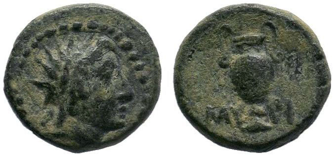 Aiolis, Myrina. 2nd-1st centuries B.C. AE . Radiate head of Helios right / MY, a...