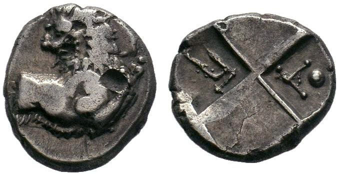 THRACE, Chersonesos. Circa 386-338 BC. AR Hemidrachm . Forepart of lion right, h...