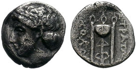 Ionia, Kolophon AR Hemidrachm. Circa 330-310 BC. Straton, magistrate. Laureate head of Apollo left / Tripod; KOΛΟΦ to left, ΣΤΡΑΤΩΝ to right. Milne Ko...