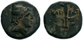Pontos, Kabeira . Time of Mithradates VI Eupator, circa 85-65 BC.AE Bronze. Head of Perseus right, wearing winged Phrygian helmet / KABH-PΩN across wi...