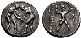 PAMPHYLIA, Aspendos. Circa 380/75-330/25 BC. AR Stater . Two wrestlers grappling; BΛ between / Slinger in throwing stance right; triskeles to right; a...