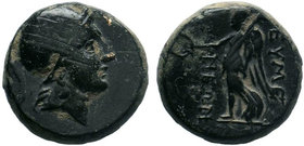 Phrygia, Eumeneia. Ca. 2nd-1st century B.C. AE. Helmeted head of Athena right / EYME-NEΩN ΔIOΦAN, Nike advancing left, holding wreath and palm branch....