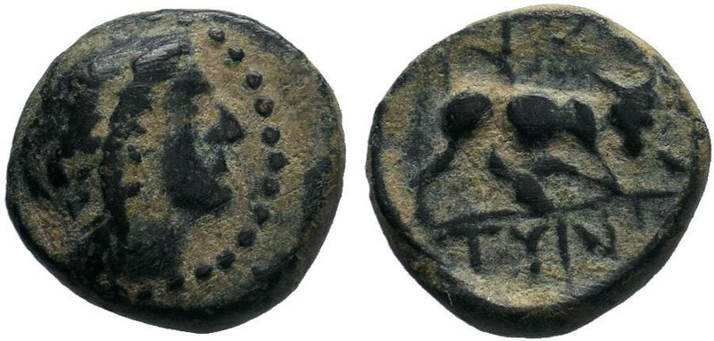 CRETE. Gortyna. Ae (Circa 220 BC). Obv: Laureate head of Apollo right. Rev: ΓΟΡ ...