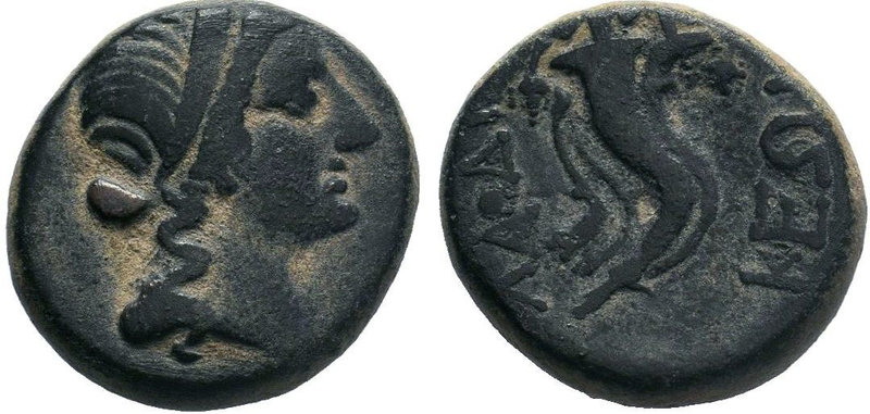 Phrygia. Laodikeia ad Lycum after 133 BC. AE Bronze.Head of Laodice or Aphrodite...