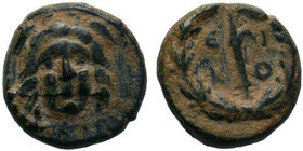 LYCAONIA. Ikonion. 1st century BC. AE Bronze. Winged head of Medusa facing. Rev. E-I-K-O Harpa within laurel wreath. Unpublished in the standard refer...
