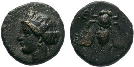 IONIA. Ephesos. circa 375 BC. Chalkous AE Bronze, Turreted female head to left. Rev. Ε Φ Bee. SNG Aulock 1839. SNG Cop. 256. BMC 68.  Condition: Very ...