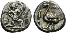 CILICIA, Mallos. Circa 440-390 BC. AR Stater . Winged male figure advancing right, holding solar disk / Swan standing left; fish to left; all within i...
