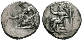 CILICIA, Tarsos. Tiribazos, Satrap. 386-380 BC. AR Stater . Athena seated left, holding spear in right hand, left elbow resting on shield; olive tree ...