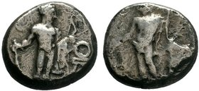 CILICIA, Issos. Circa 390-385 BC. AR Stater . Apollo standing half-left, holding phiale and placing hand on olive tree to right / Herakles standing fa...