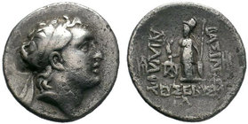 Ariarathes V Kings of Cappadocia, Eusebeia AR Drachm 130 BC. Diademed head of Ariarathes V right / Athena Nikephoros standing left; monogram to outer ...