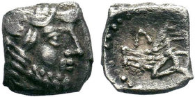 Lycaonia, Laranda. AR Obol , c. 324/3 BC.Obv. Head of Herakles to right.Rev. Forepart of a wolf right; Λ above.SNG Levante 227; SNG von Aulock 8656; K...
