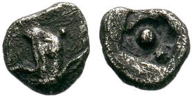 Ionia. Phokaia 530-500 BC. AR Obol . Head of griffin left / Large dot in the middle of incuse square. Unpublished Type!