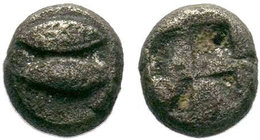 MYSIA, Kyzikos. Circa 550-480 BC. AR Obol . Dolphin left; below, tunny left / Quadripartite incuse square.   Condition: Very Fine  Weight: 0.31 gr Dia...