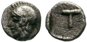 ARKADIA, Tegea. Circa 423-400 BC. AR Obol . head of Athena left / Large T within incuse circle. BCD Peloponnesos 1719.