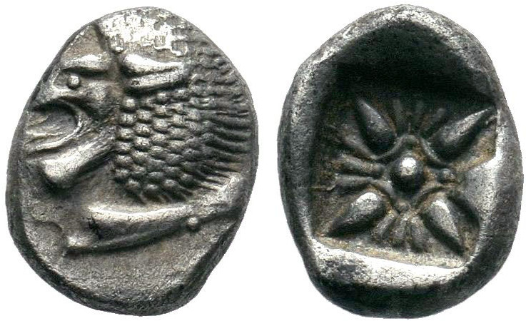 IONIA, Miletos. Late 6th-early 5th century BC. AR Obol . Forepart of lion right,...