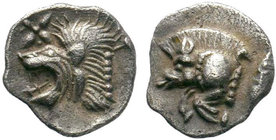 Mysia. Kyzikos,AR Obol , c. 450-400 BC. Obv. Forepart of boar left, tunny behind. Rev. Head of lion left. SNG France 369-70; SNG Aulock 7331