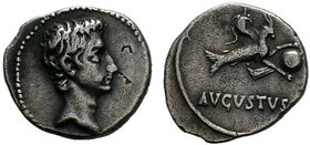 Augustus (27 BC-AD 14). AR denarius .Spain (Colonia Patricia?), ca. 17/6 BC. Bare head of Augustus right / Capricorn right, holding globe attached to ...