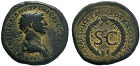 Trajan. A.D. 98-117. AE semis . Cyprus mint, struck A.D. 115-116. IMP CAES NER TRAIANO OPTIMO AVG GERM, radiate head right, draped left shoulder / DAC...