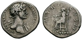 "Hadrian (AD 117-138). AR denarius. Rome, AD 117. IMP CAESAR TRAIAN HADRIANVS AVG, laureate ""heroic"" bust of Hadrian right, seen from front, drapery on..."