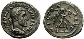 Maximinus I AR Denarius. Rome, AD 235-236. Laureate, draped, and cuirassed bust right / Victory advancing right, holding wreath and palm frond. RIC IV...
