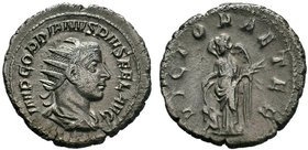 Gordian III. AD 238-244. AR Antoninianus, Rome. IMP GORDIANVS PIVS FEL AVG, radiate, draped, and cuirassed bust of Gordian right / VICTOR AETER, Victo...
