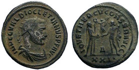 Diocletian Æ Silvered Antoninianus. Siscia, AD 293-295. IMP C C VAL DIOCLETIANVS P AVG, radiate and cuirassed bust right / CONCORDIA MILITVM, Diocleti...