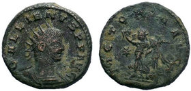 Gallienus, 253 - 268 ADrnAE Antoninianus, Antioch Mint, Obverse: GALLIENVS AVG, Radiate, draped and cuirassed bust of Gallienus right.rnReverse: VICTO...