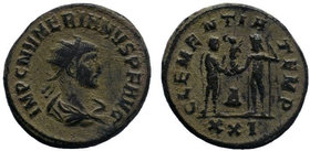 Numerian, as Caesar, Æ Antoninianus. Antioch, AD 283-284. Radiate, draped and cuirassed bust right, seen from behind / Numerian standing right, holdin...