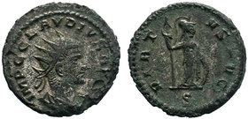 Claudius II Æ Antoninianus. Kyzikos, AD 268-270. Radiate bust right / Minerva holding shield and spear right. RIC 236 var.  Condition: Very Fine  Weig...