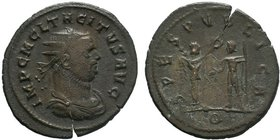 TACITUS (275-276). Antoninianus. Kyzikos. Obv: IMP C M CL TACITVS AVG. Radiate, draped and cuirassed bust right. Rev: SPES PVBLICA / Q. Victory standi...