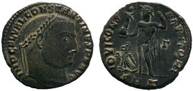 CONSTANTINE II (Caesar, 316-337). Follis. Cyzicus. Obv: D N FL CL CONSTANTINVS NOB C. Laureate and draped bust left, holding globus, sceptre and mappa...