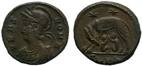 CONSTANTINE I THE GREAT (306-337). Commemorative series. Follis. Kyzikos. Obv: VRBS ROMA. Helmeted and cuirassed bust of Roma left. Rev: SMK. Lupa Rom...