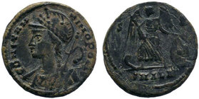Constantine I Æ Nummus. Alexandria, AD 333-335. CONSTANTINOPOLIS, laureate and helmeted bust of Constantinopolis left, wearing imperial cloak and hold...