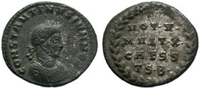 Constantine II. As Caesar, AD 316-337. Æ Follis (18mm, 3.06 g, 5h). Thessalonica mint, 2nd officina. Struck AD 318-319. Laureate and cuirassed bust ri...