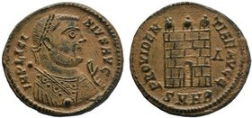 Licinius I. AD 308-324. Æ Follis . Heraclea mint, 2nd officina. Struck AD 318-320. Laureate bust right wearing imperial mantle, holding mappa in left ...