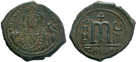 BYZANTINE.Maurice Tiberius, 582-602 AD, AE Follis. Antioch as Theopolis. Garbled legend, crowned and mantled bust facing, holding mappa and eagle-tipp...